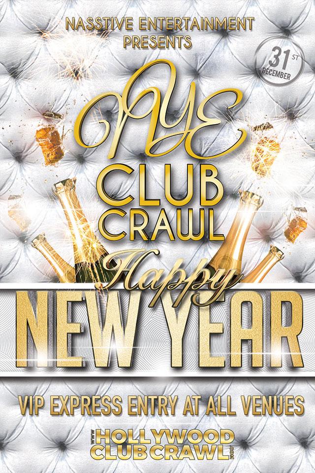 NYE Hollywood Club Crawl Flyer 2017