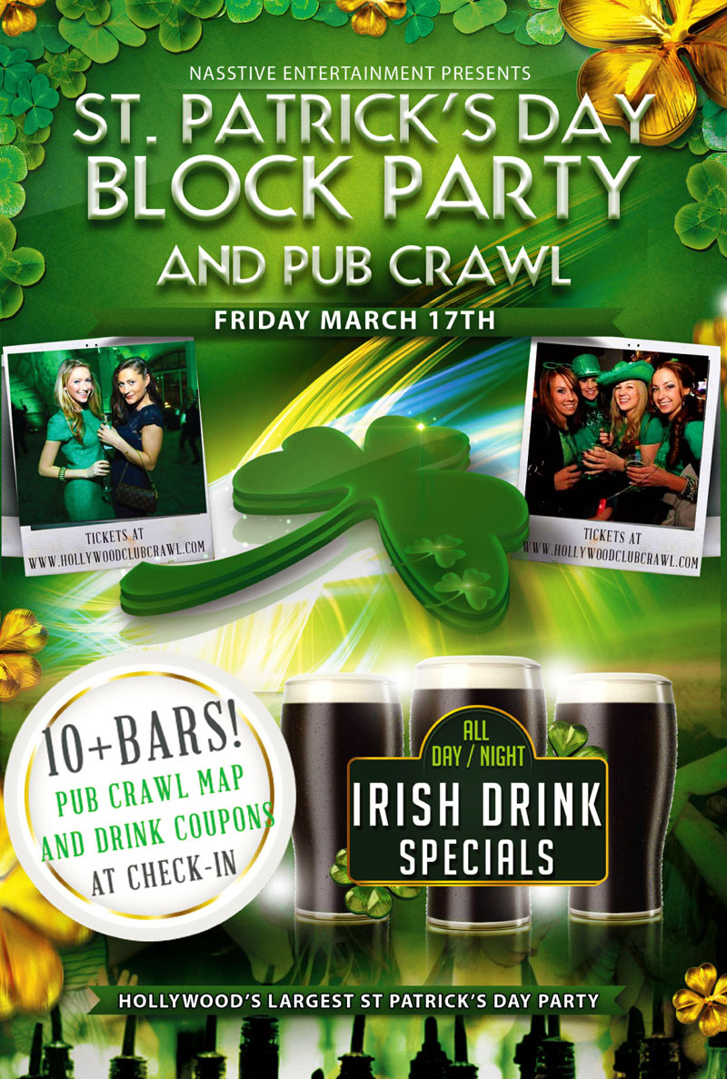 St. Patrick's Day 2017 - Pub Crawl & Block Party - Hollywood Club ...